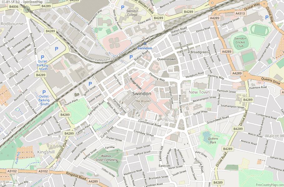 Swindon England Map