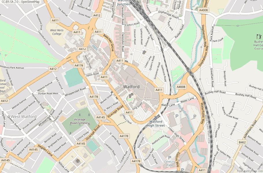 Watford England Map