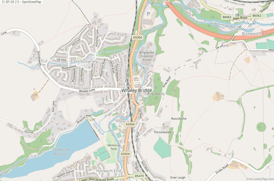 Whaley Bridge Map Great Britain Latitude & Longitude: Free England Maps