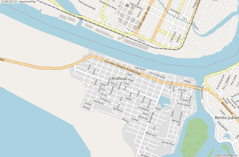 Altamira Mexico Map.Anahuac Map Mexico Latitude Longitude Free Maps