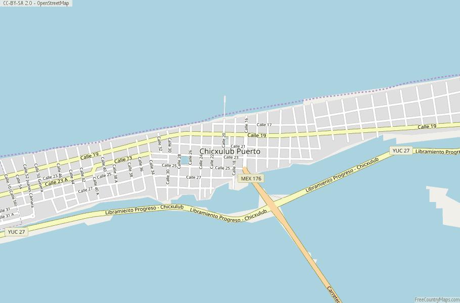 Chicxulub Puerto Map Mexico Latitude Longitude Free Maps