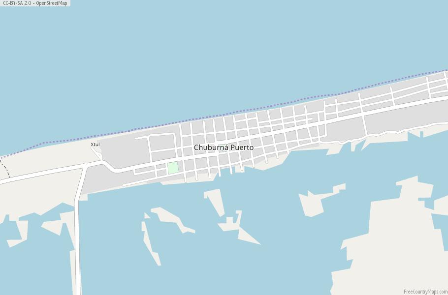 Chuburna Puerto Map Mexico Latitude Longitude Free Maps