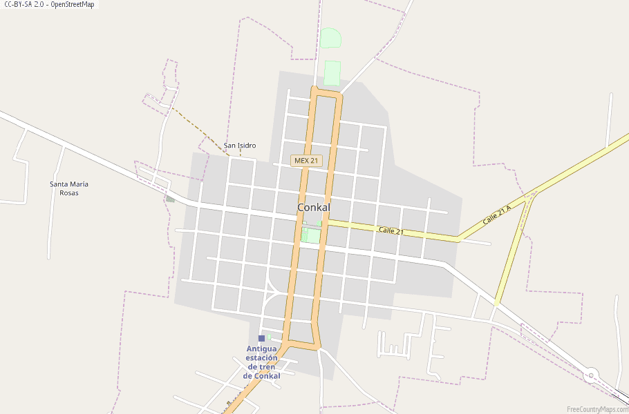 Conkal Map Mexico Latitude & Longitude: Free Maps