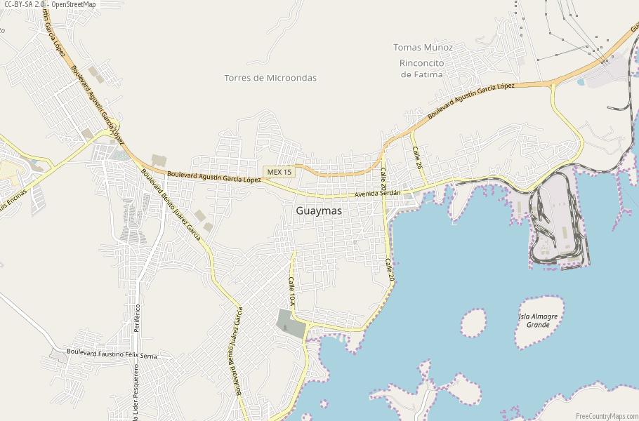 Guaymas Map Mexico Latitude Longitude Free Maps