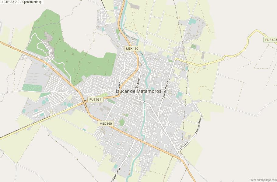 Izúcar de Matamoros Map Mexico Latitude & Longitude: Free Maps