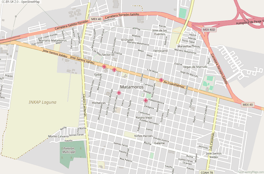 Matamoros Map Mexico Latitude & Longitude: Free Maps