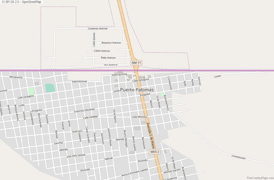 Puerto Palomas Map Mexico Latitude & Longitude: Free Maps