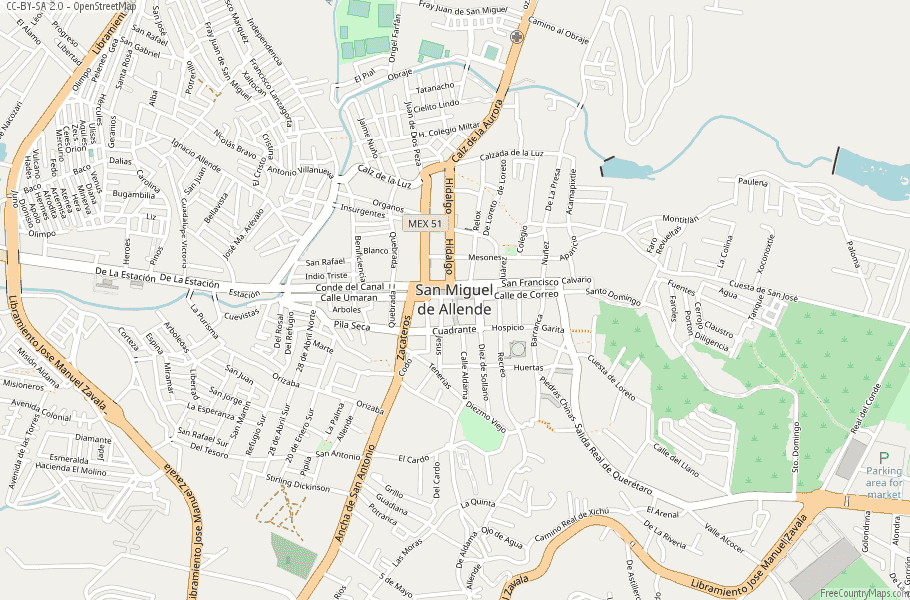 San Miguel de Allende Map Mexico Laude & Longitude: Free Maps on rio de janeiro map, rincon de guayabitos map, ixtapan de la sal map, queretaro map, real de catorce map, puerto vallarta map, ixtapa zihuatanejo map, hermosillo map, segovia spain on a map, mexico map, puebla on map, latin america map, chichen itza map, morelia map, cozumel map, san miguel county nm map, antigua guatemala map, buenos aires map, isla mujeres map, san cristobal de las casas map,