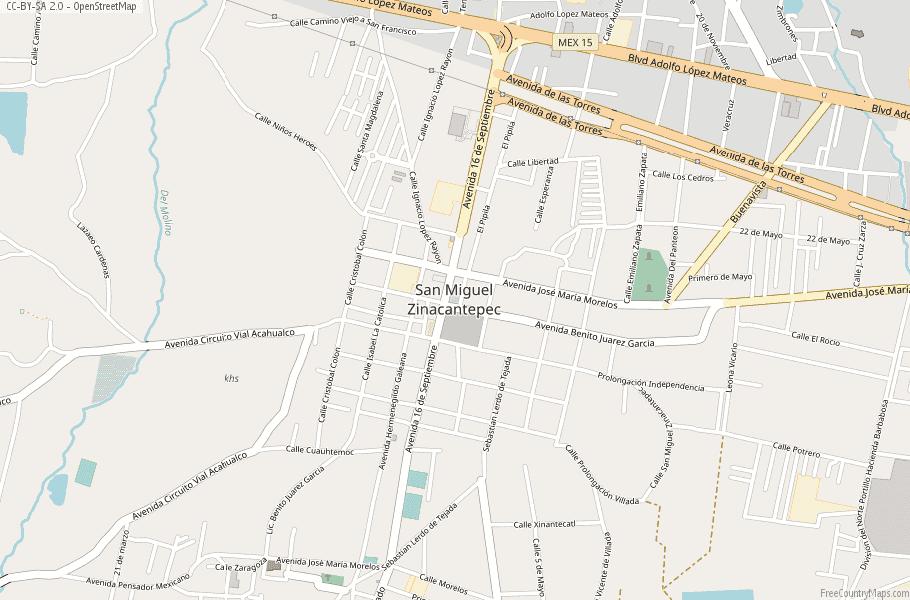 San Miguel Zinacantepec Map Mexico Latitude Longitude Free Maps