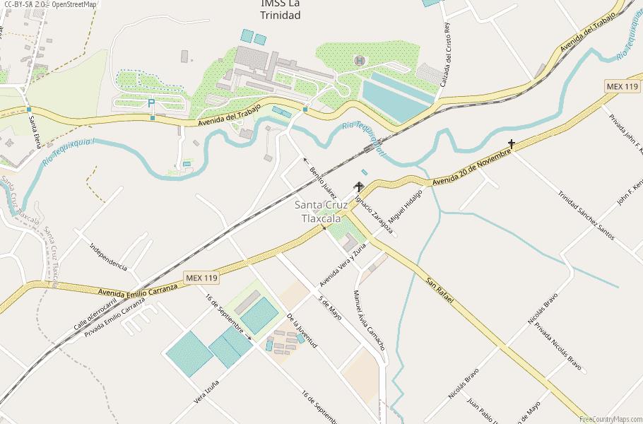 Santa Cruz Tlaxcala Map Mexico Latitude Longitude Free Maps