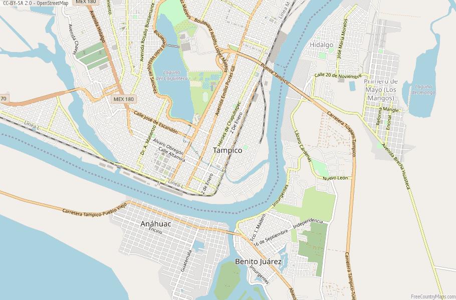 Tampico Map Mexico Latitude Longitude Free Maps