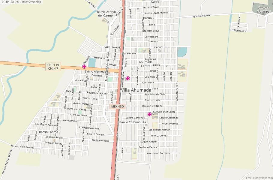 Colonia Lebaron Mexico Map.Villa Ahumada Map Mexico Latitude Longitude Free Maps