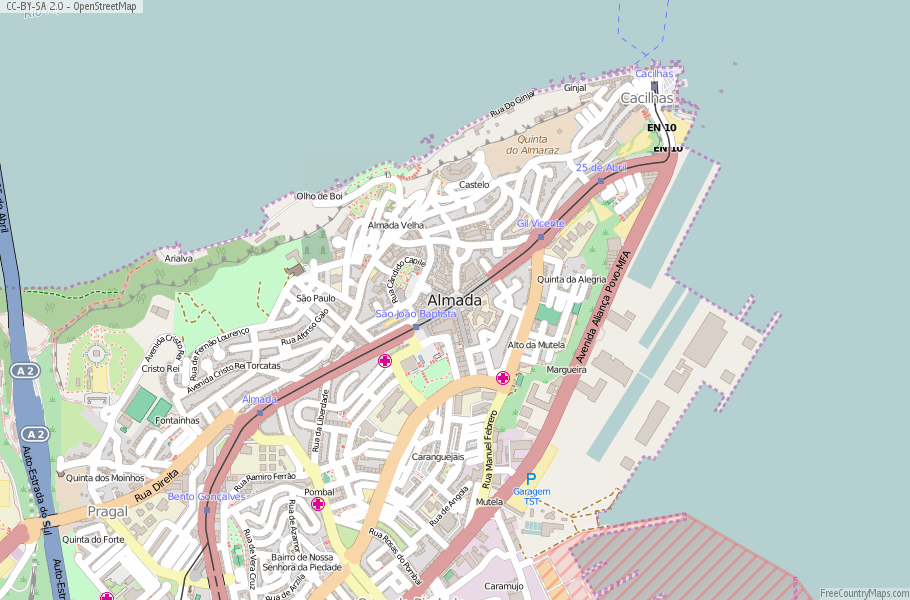 Almada Portugal Map
