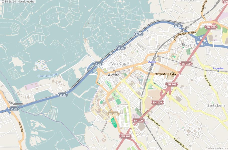 Aveiro Map Portugal Latitude Longitude Free Portugal Maps - Portugal map longitude