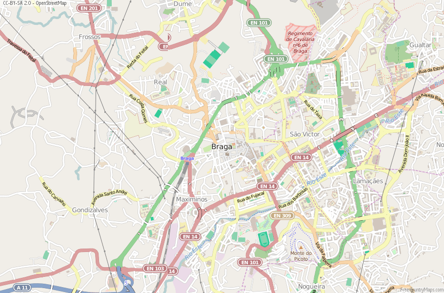 Braga Portugal Map