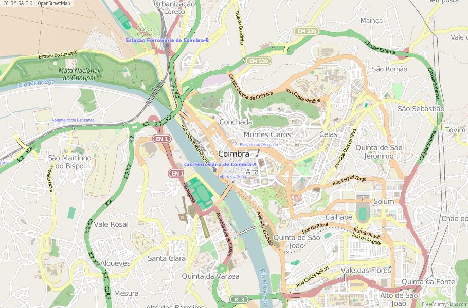 Coimbra Map Portugal Latitude Longitude Free Portugal Maps - Portugal map longitude