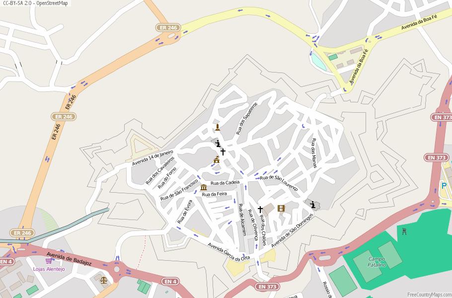 Elvas Map Portugal Latitude Longitude Free Portugal Maps - Portugal map longitude