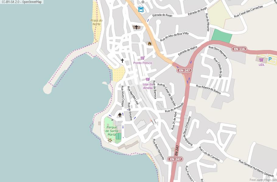 Ericeira Map Portugal Latitude Longitude Free Portugal Maps - Portugal map longitude