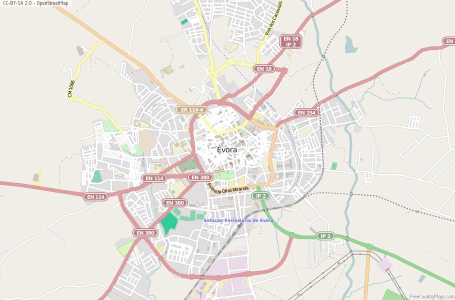 Évora Map Portugal Latitude Longitude Free Portugal Maps - Portugal map longitude