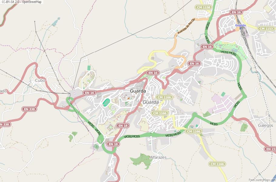 Guarda Map Portugal Latitude Longitude Free Portugal Maps - Portugal map longitude