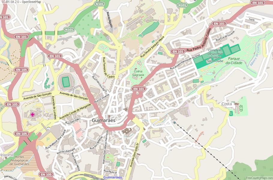 Guimarães Map Portugal Latitude Longitude Free Portugal Maps - Portugal map longitude