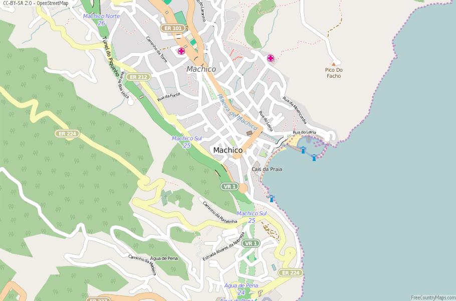 Machico Map Portugal Latitude Longitude Free Portugal Maps - Portugal map longitude