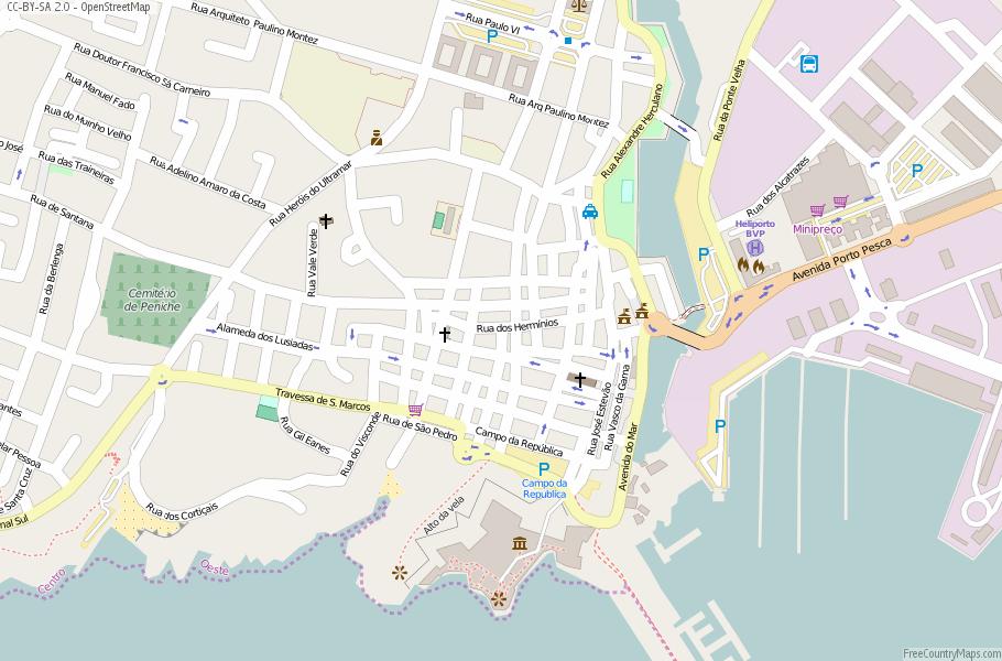 Peniche Map Portugal Latitude Longitude Free Portugal Maps - Portugal map ericeira