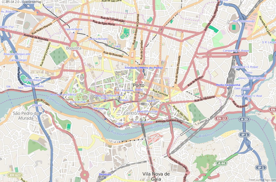 Porto Map Portugal Latitude Longitude Free Portugal Maps - Portugal map longitude