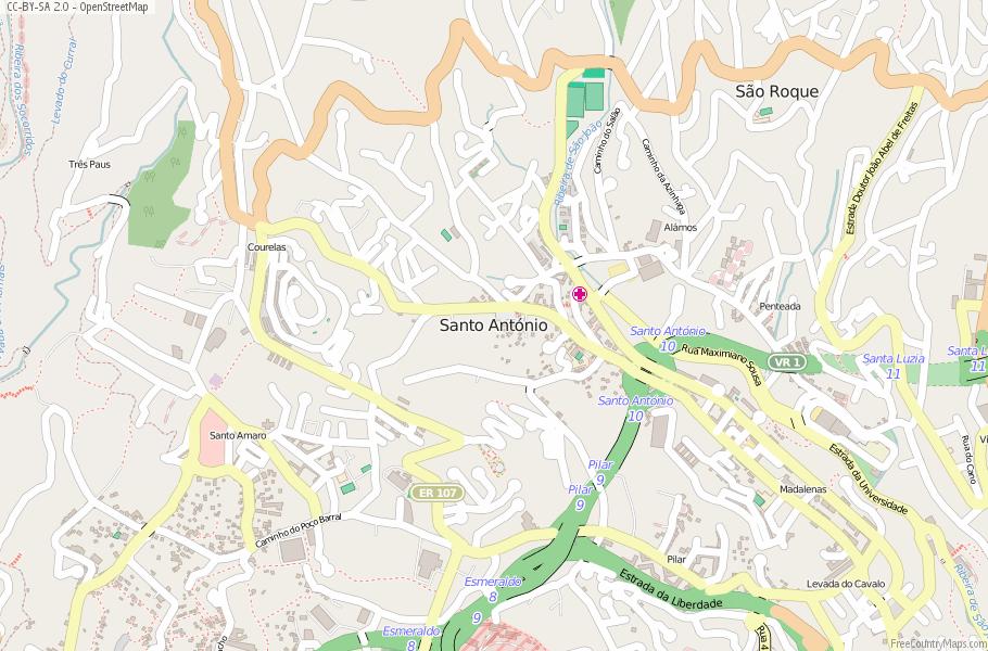 Santo António Map Portugal Latitude Longitude Free Portugal Maps - Portugal map longitude