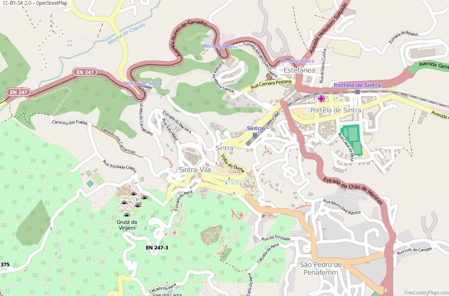 Sintra Map Portugal Latitude Longitude Free Portugal Maps - Portugal map longitude