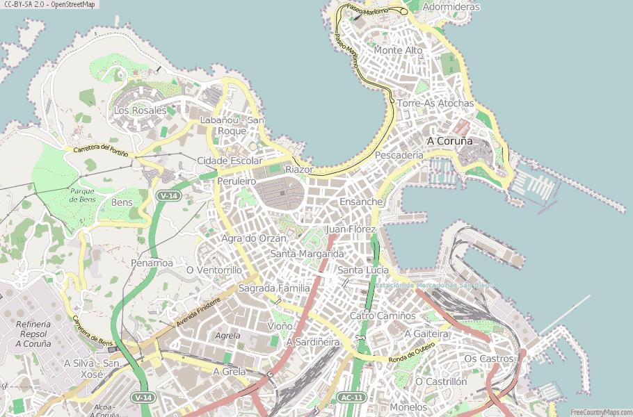 A Coruña Spain Map