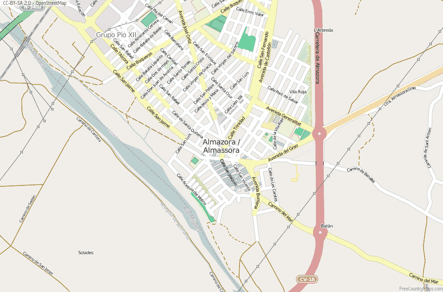 Almazora / Almassora Spain Map