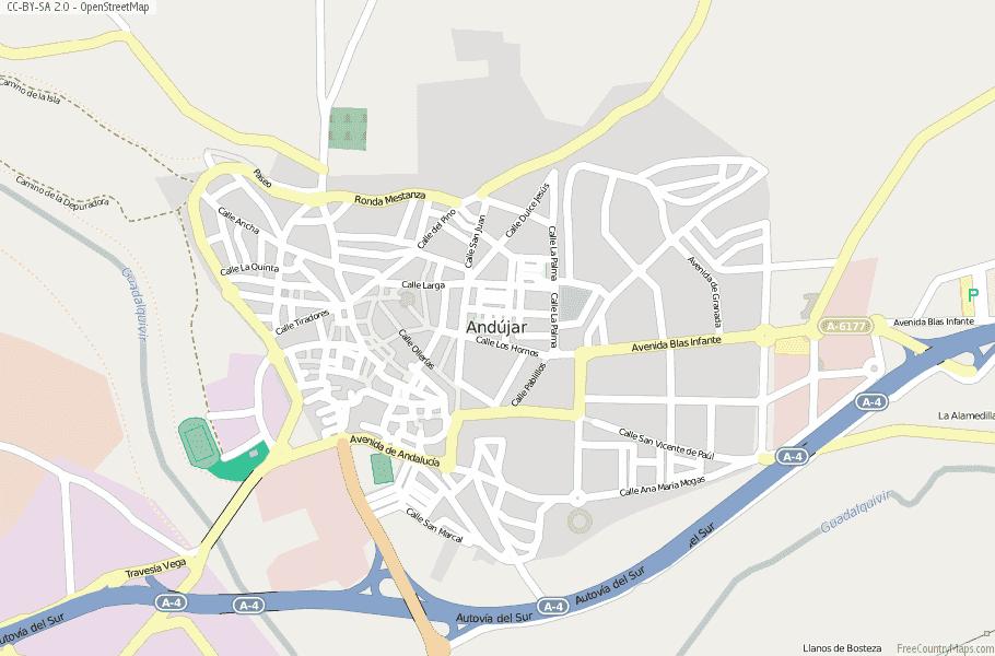 Andújar Spain Map