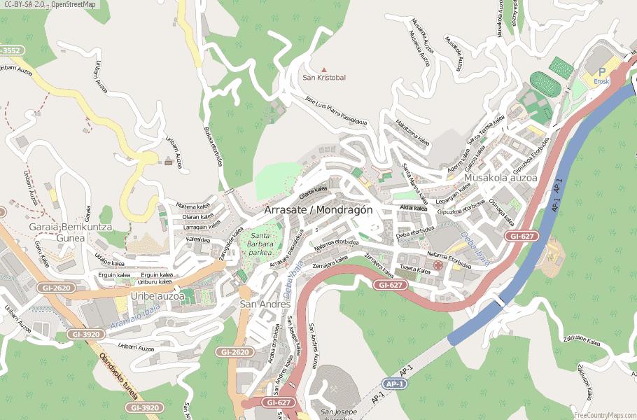 Arrasate / Mondragón Spain Map