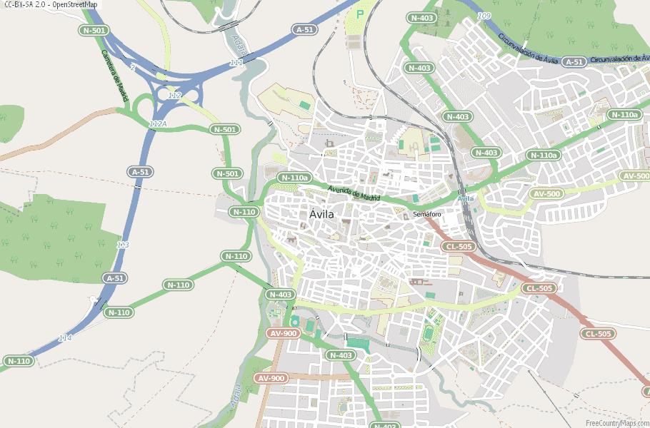 Ávila Spain Map
