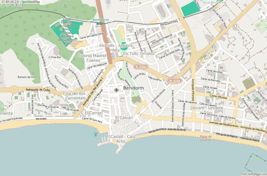 Map Of Spain Benidorm.Benidorm Map Spain Latitude Longitude Free Maps