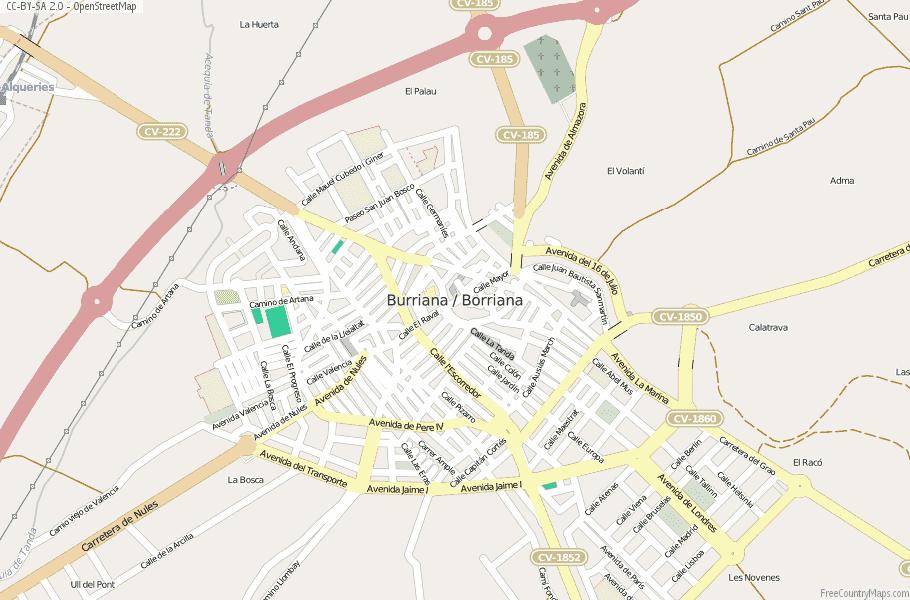 Burriana / Borriana Spain Map