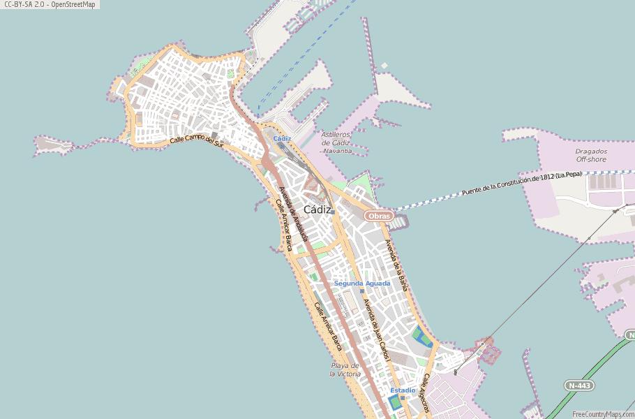 Map Of Spain Cadiz.Cadiz Map Spain Latitude Longitude Free Maps