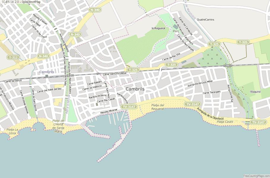 Cambrils Map Spain Latitude Longitude Free Maps