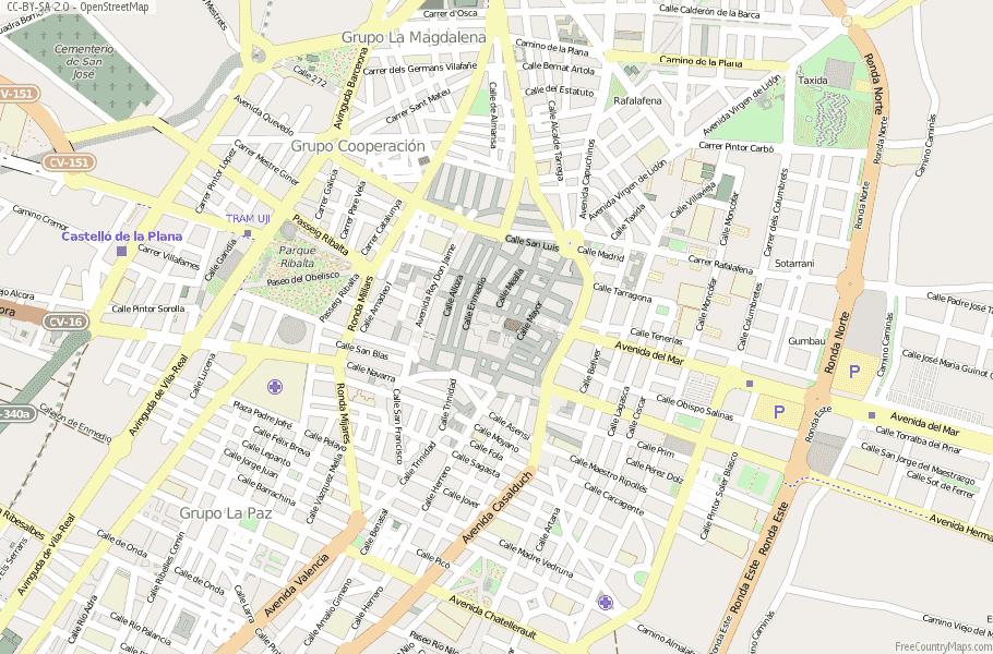 Castellón de la Plana / Castelló de la Plana Spain Map