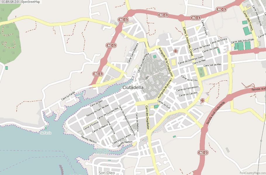 Ciutadella Spain Map