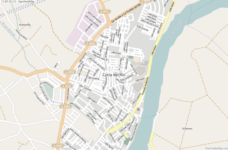 Coria del Río Spain Map