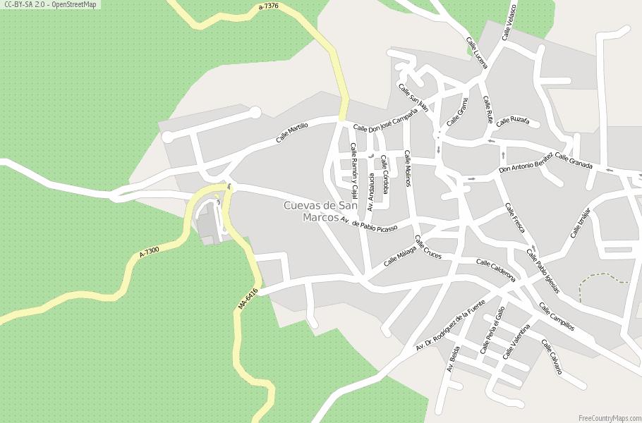 Map Of Spain 1300.Cuevas De San Marcos Map Spain Latitude Longitude Free Maps