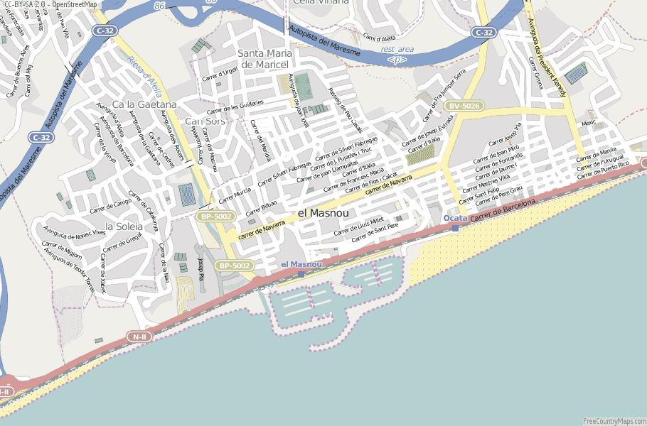 el Masnou Spain Map
