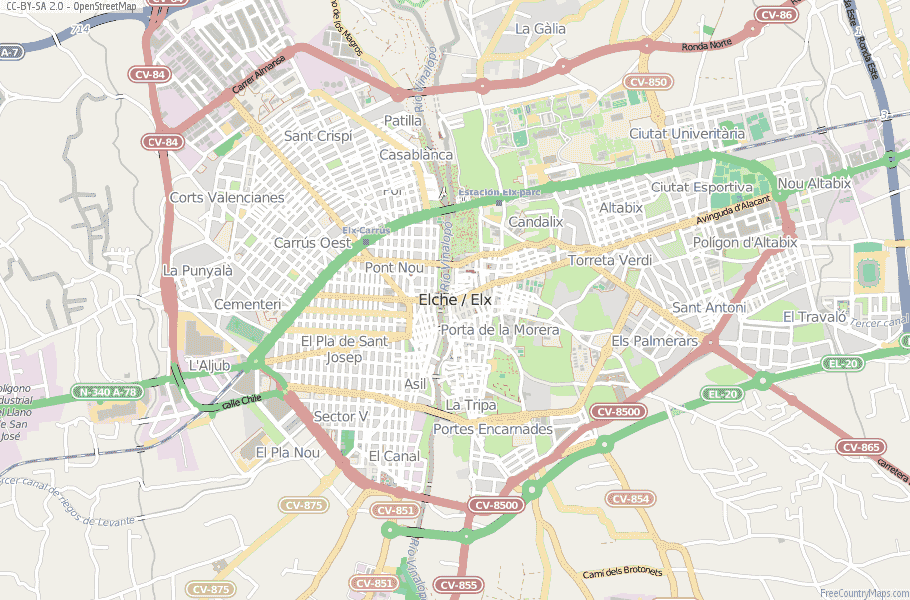 Elche / Elx Spain Map