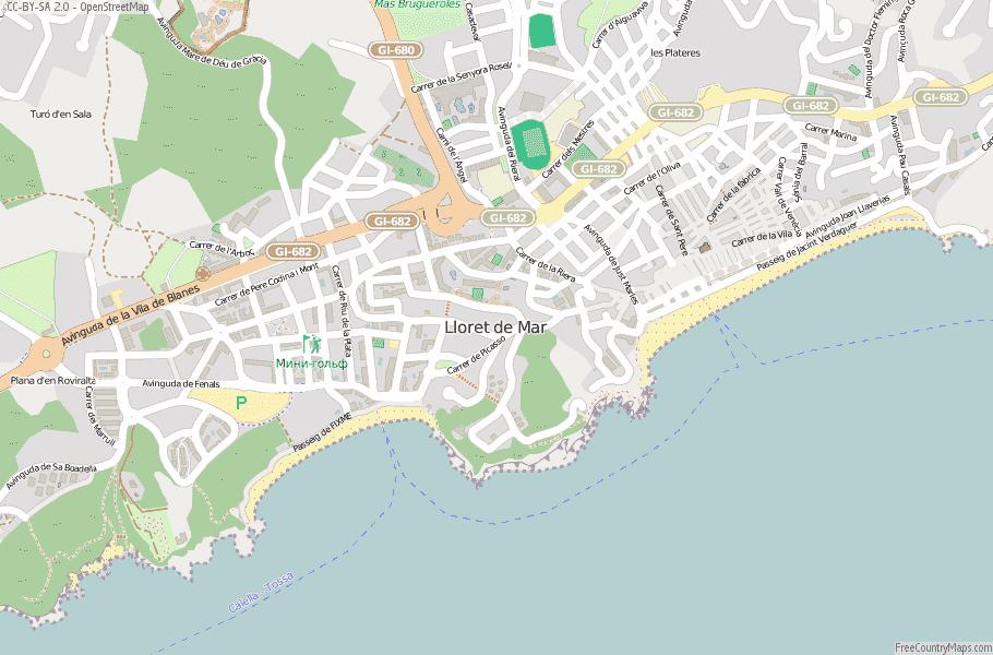Lloret de Mar Spain Map