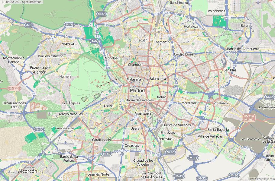 Madrid Map Of Spain.Madrid Map Spain Latitude Longitude Free Maps