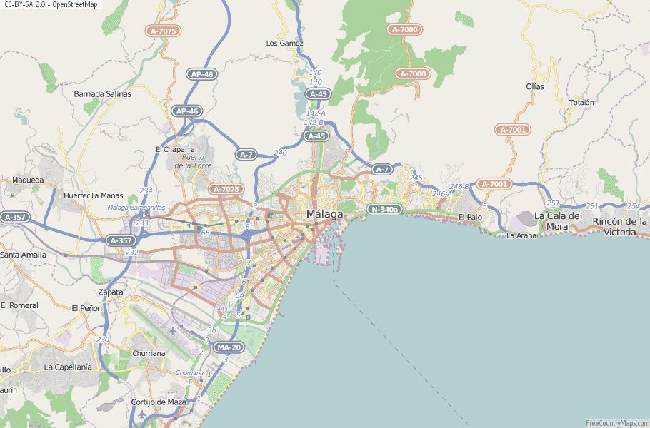 Map Of Spain Showing Malaga.Malaga Map Spain Latitude Longitude Free Maps