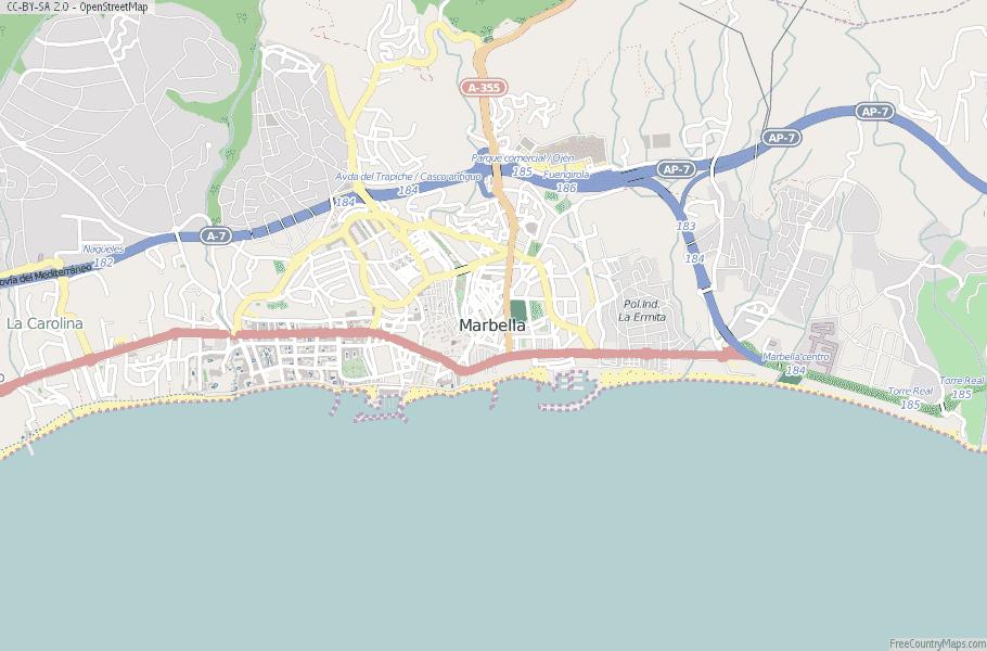 Marbella Map Of Spain.Marbella Map Spain Latitude Longitude Free Maps