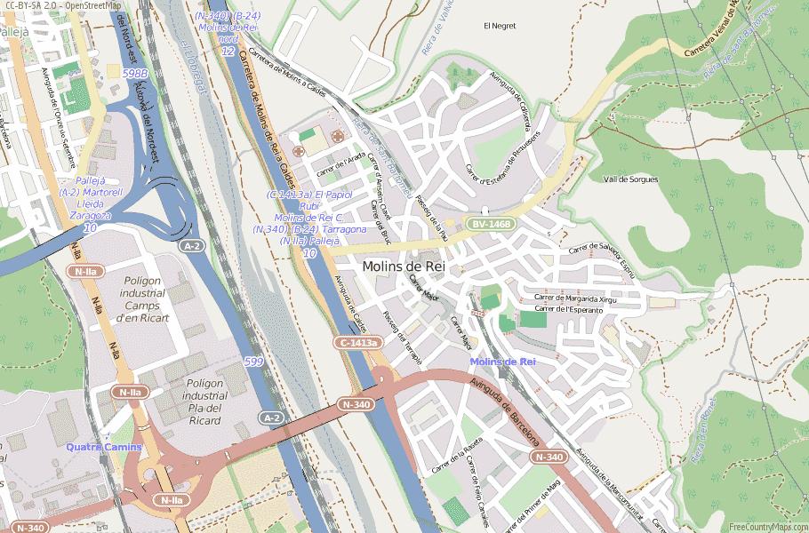 Molins de Rei Spain Map